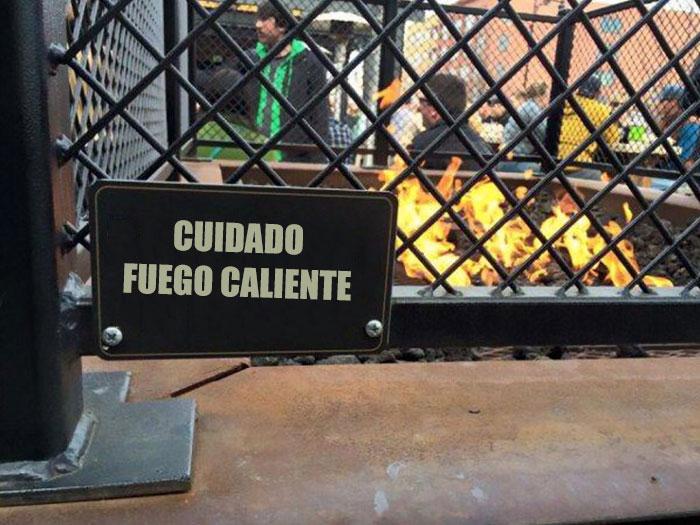 fuego caliente cuidado