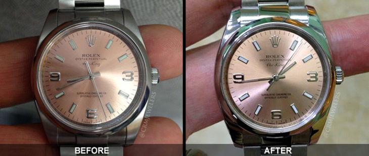 Reloj antes y después del pulido