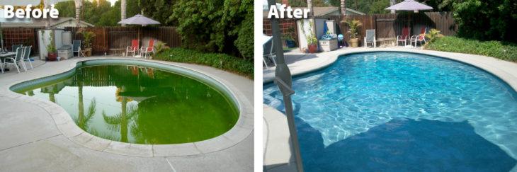 Alberca antes y después