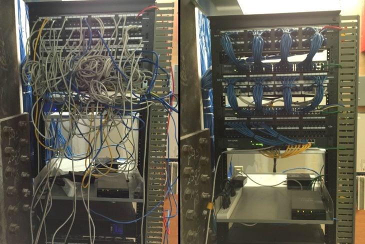 Cables enredados y ordenados despues
