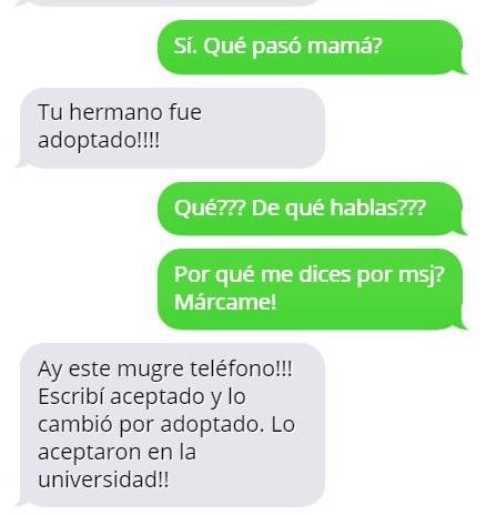Mensajes graciosos mamá - tu hermano es adoptado