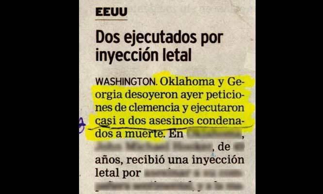 Nota periódico - ejecutan casi a dos asesinos