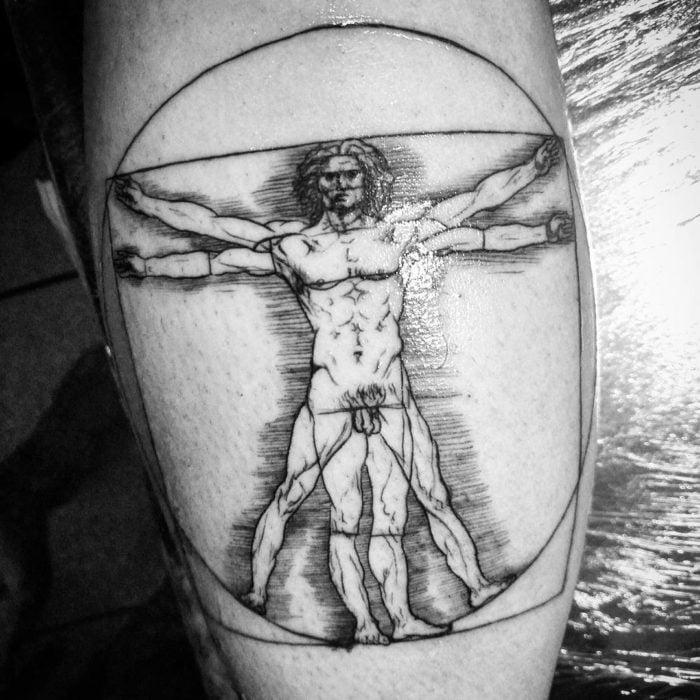 Hombre vitruvio tatuaje Leonardo da Vinci, 1490