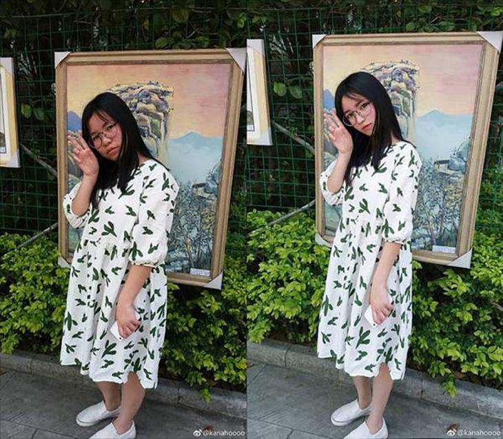 chica con vestido blanco y estampado verde frente a un cuadro antes y después del photoshop