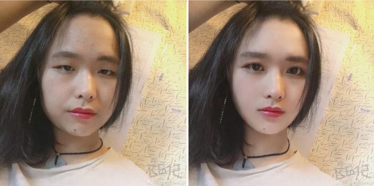 chica asiática de cabello negroantes y después del photoshop