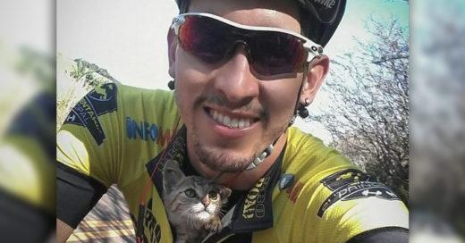 Cover Ciclista salva a gatito recién nacido abandonado