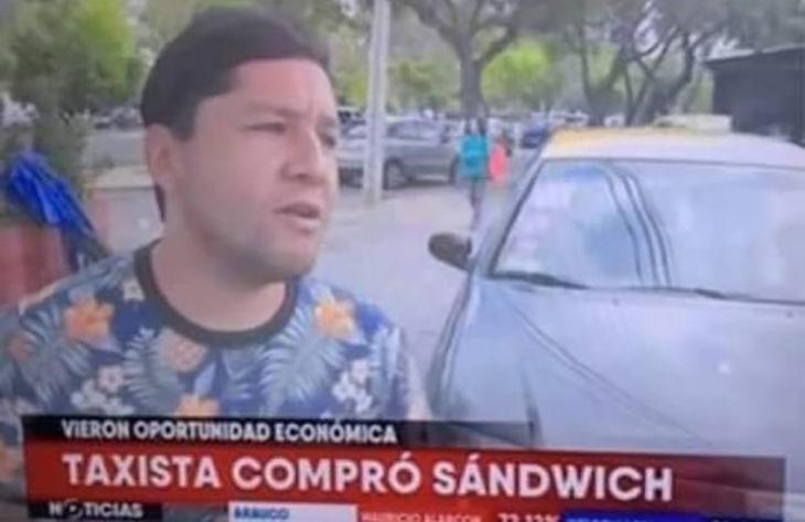 noticia sobre un taxista que compro un sandwich