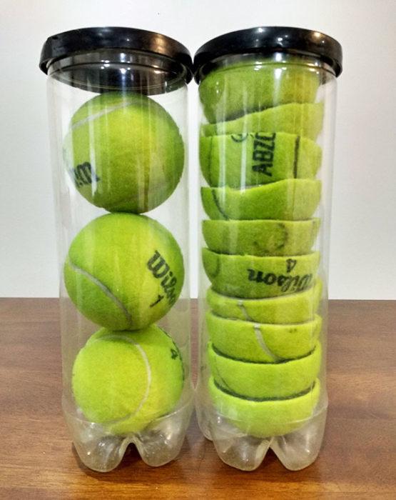 cortar pelotas de tenis