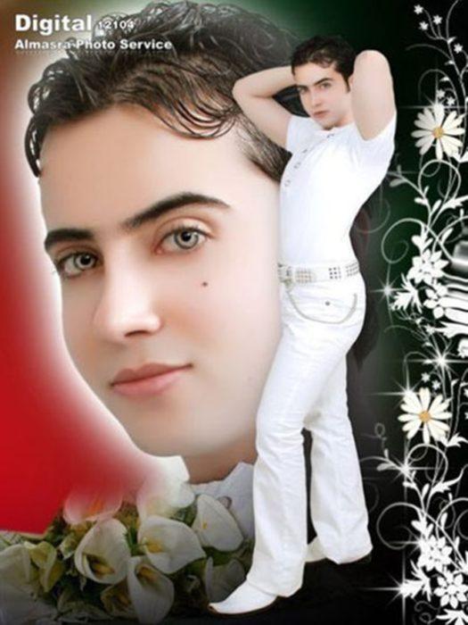 chico vestido de blanco con las cejas sacadas