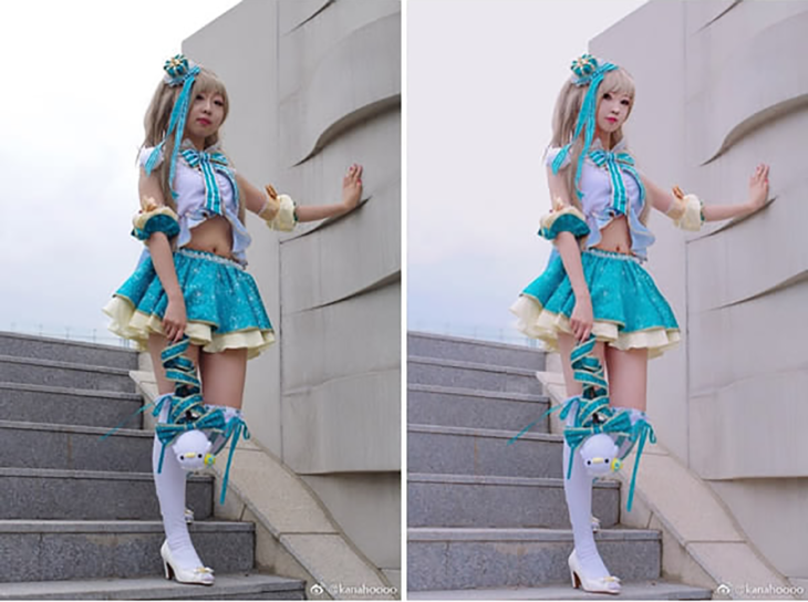 chica cosplayer antes y después del photoshop