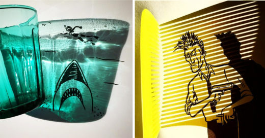 Cover Resulta artista sombras de los objetos cotidianos en la diversión Ilustraciones