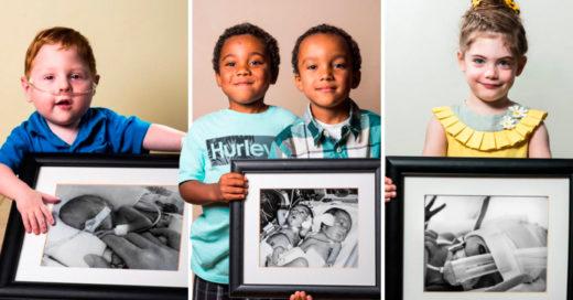 Cover Adorables fotos de niños prematuros que posan con su foto de bebé