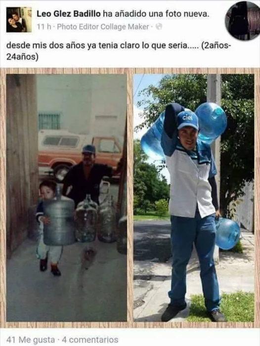 estado de facebook de chico que carga agua