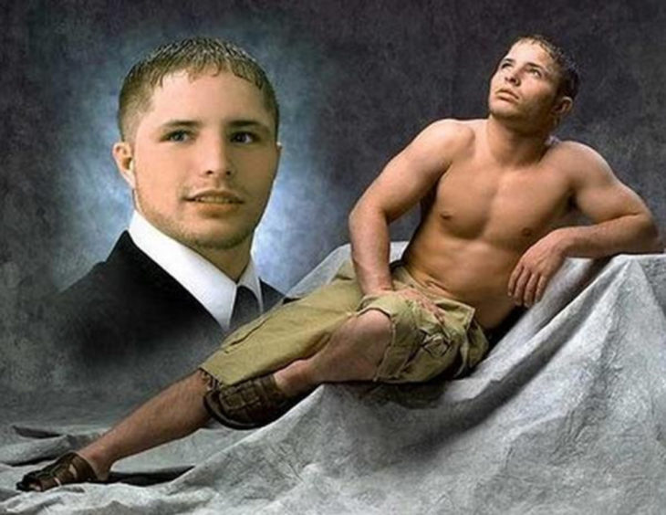 chico posando sin camisa para una foto