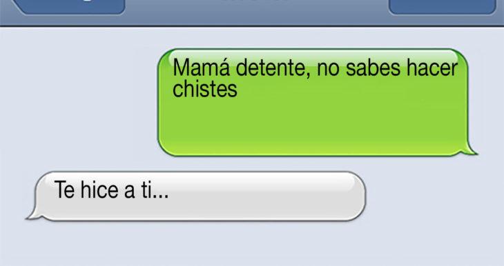 mensaje de texto sobre chistes de mamá