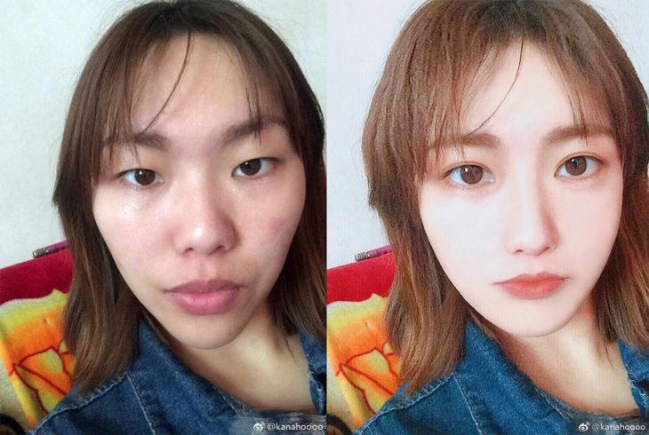 chica asiática que se cambió las facciones del rostro con photoshop