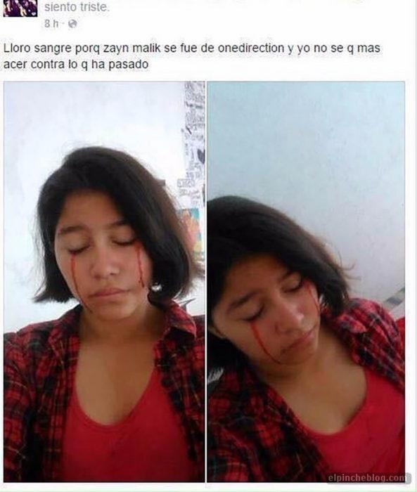 estado de facebook de mujer que llora sangre por one direction