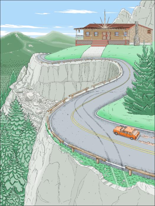 carretera curva ilustración