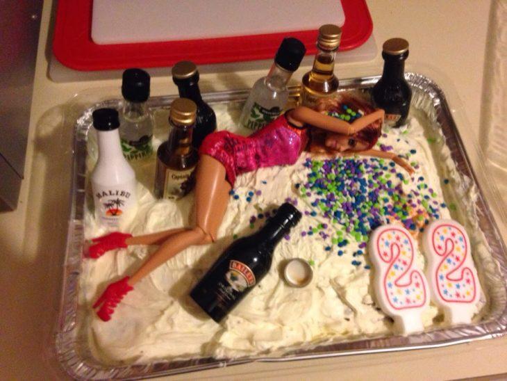 pastel de cumpleaños de borracha