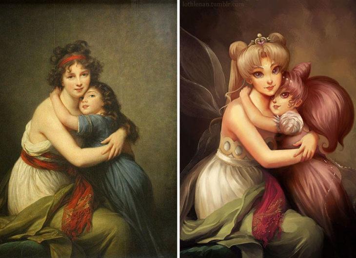 Autorretrato con su hija