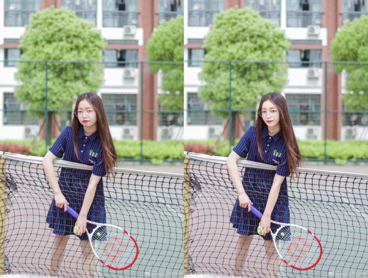 chica asiática con una raqueta antes y después del photoshop