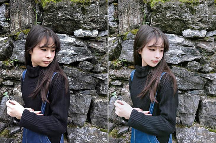 chica asiática frente a unas rocas antes y después del photoshop