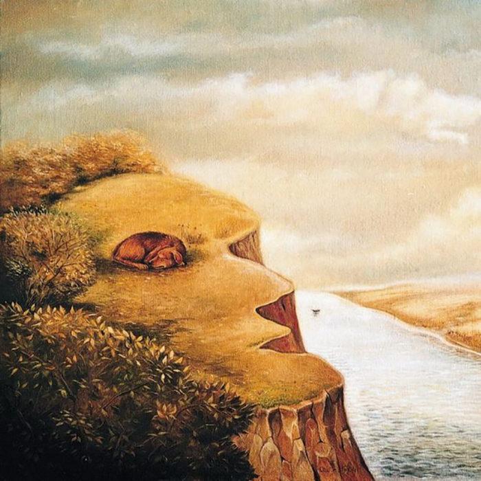 Rostro, precipicio, lago