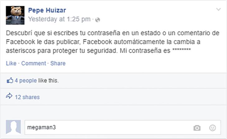 estado de facebook sobre escribir tu contraseña