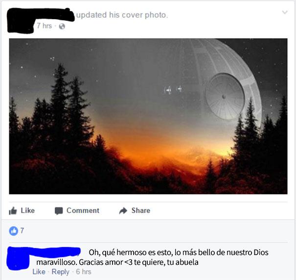 abuela pone foto de portada en el face