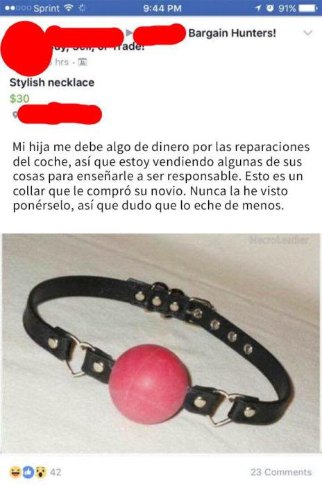 mujer vende collar extraño de su hija