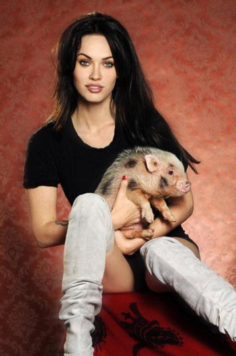 Meg Ryan con cerdo