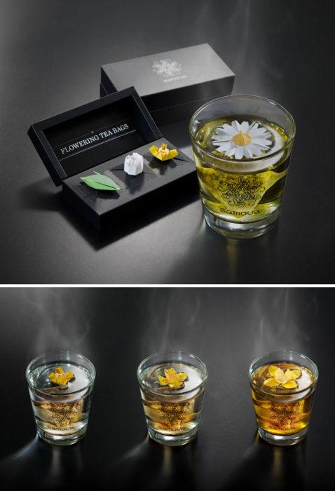 Empaque de té con flores flotantes