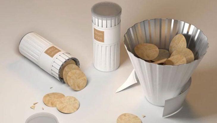 tubo de papas que se convierte en tazón