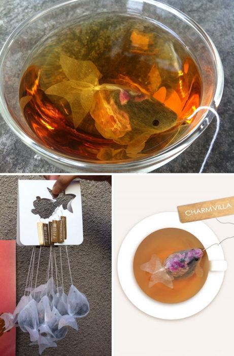 empaque de té en forma de pez koi