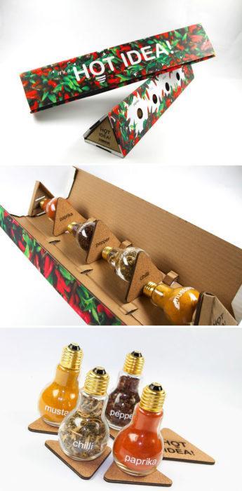 empaque de condimentos en forma de bombilla eléctrica