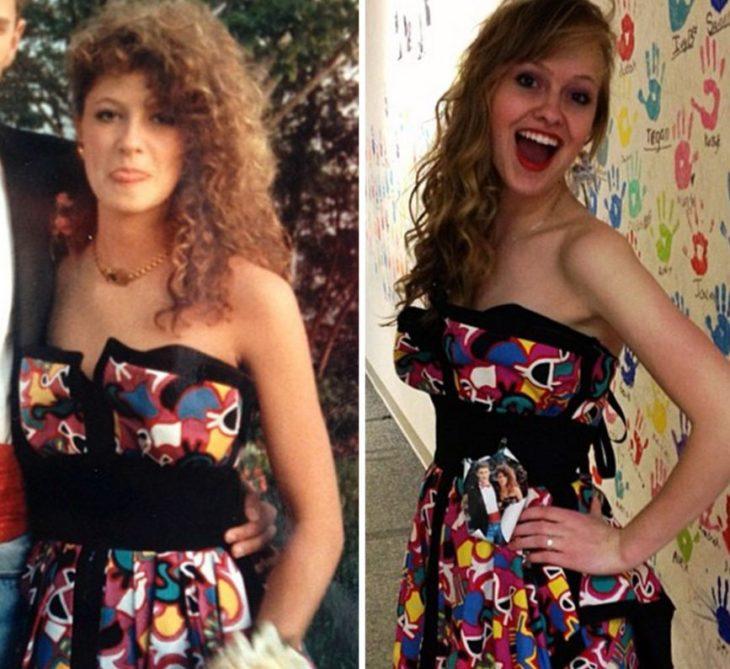 El mismo vestido que su mamá usó en su graduación mujer risa colorido
