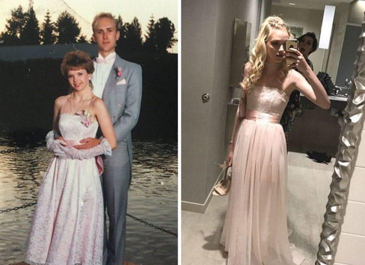 rosa El mismo vestido que su mamá usó en su graduación