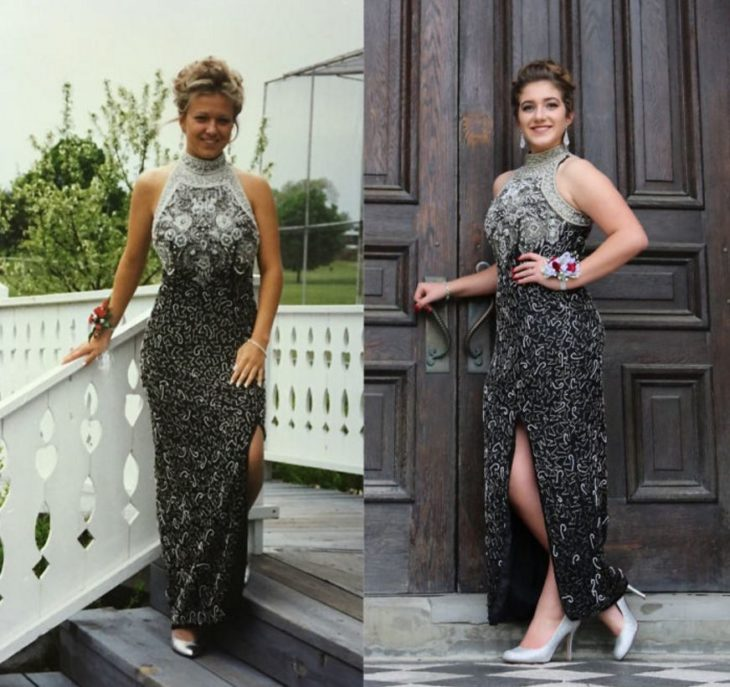 El mismo vestido que su mamá usó en su graduación gris
