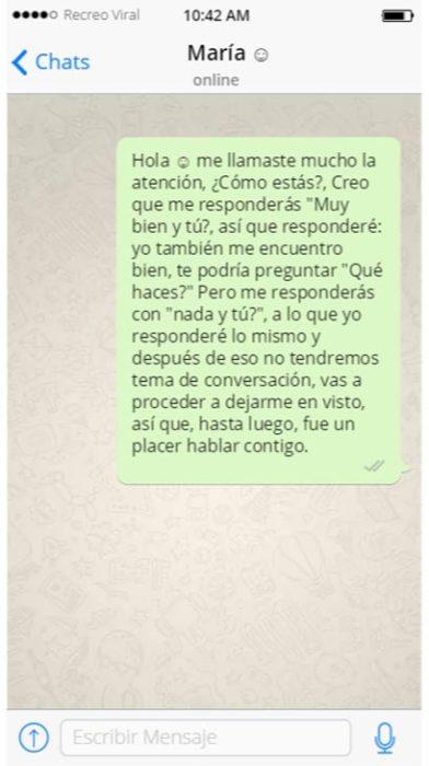 Hombre autorechazado mediante un solo mensaje de texto