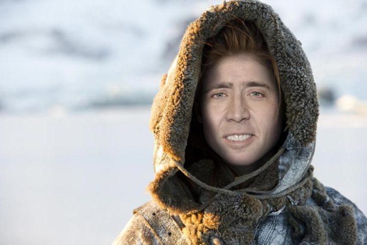 Mujer personaje de game os thrones con cara de Nicolas Cage