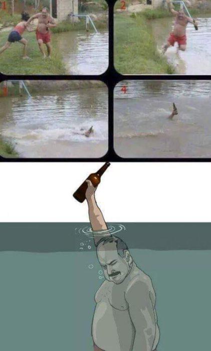 Hombre cae al agua pero salva su caguama