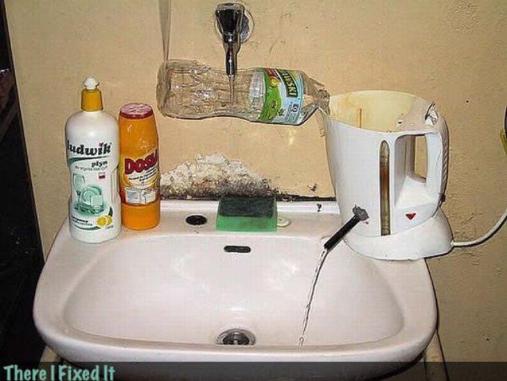 lavabo cafetera agua caliente
