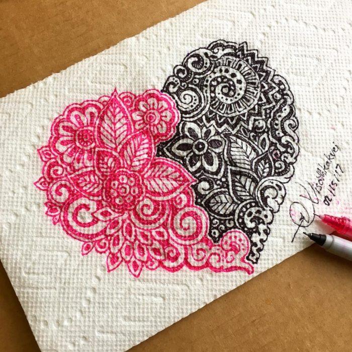 corazón bicolor