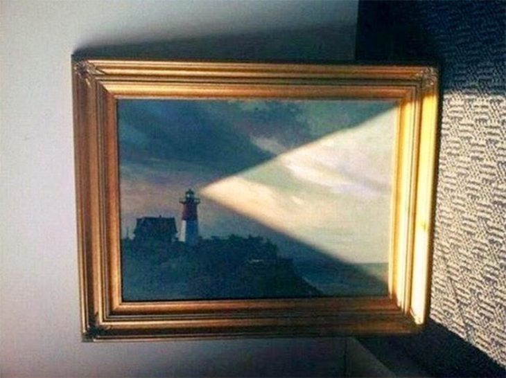 cuadro de faro de luz
