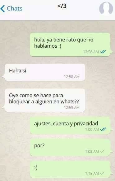 mensaje de whatsapp como se bloquea a alguien