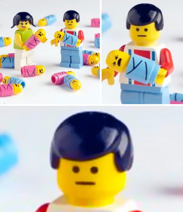Cara de angustia de figura de lego