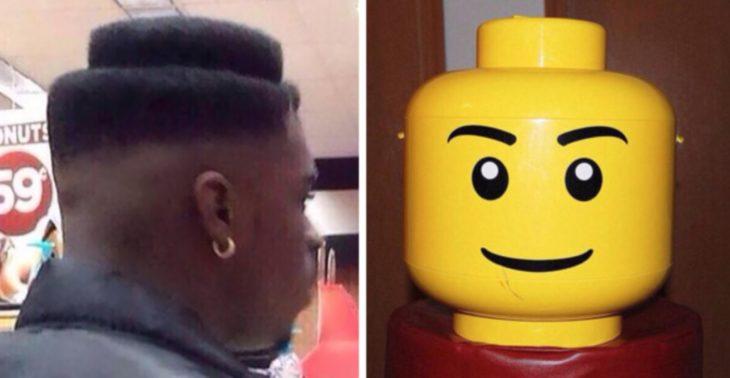Corte de cabello similar a la cabeza de lego