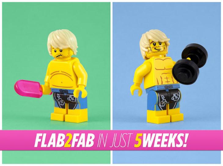 antes y después de ejercitarse de un lego