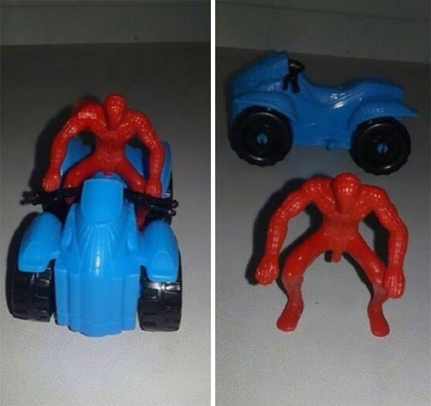 spiderman en un carro diseño raro