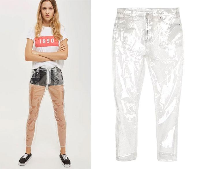pantalón plástico transparente